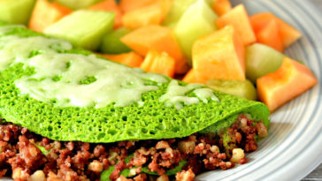 St. Patrick's Day : Green Eggs And Hash Omelet Recipe