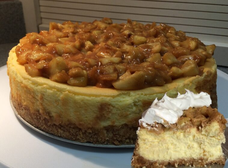 Apple Cheesecake with Caramel Sauce Recipe