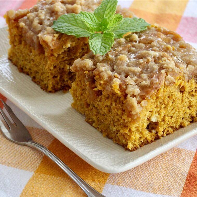 Pumpkin Coffee Cake with a Brown Sugar Glaze Recipe