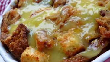 Rum Raisin Bread Pudding with Warm Vanilla Sauce Recipe